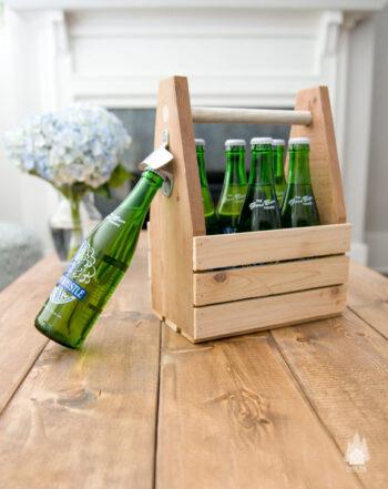 six pack wood rustic box