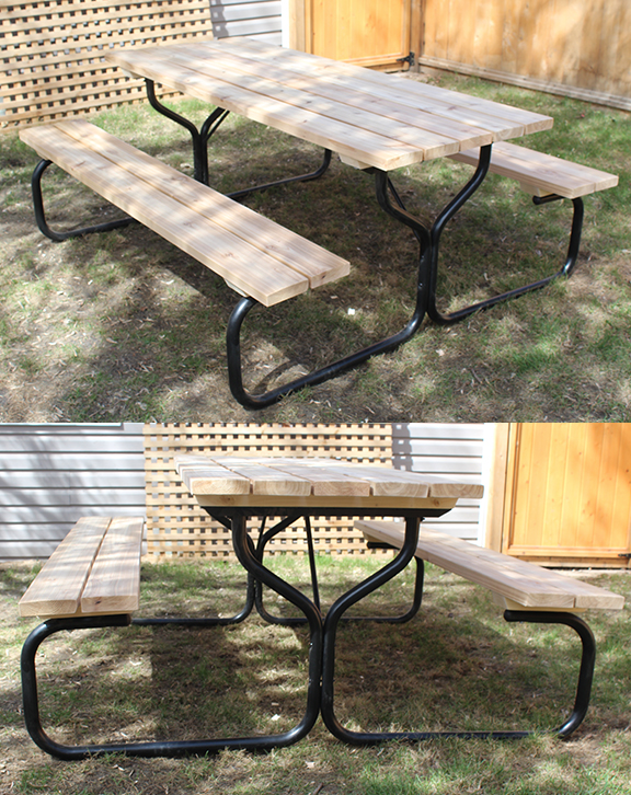 Metal Base Picnic Table Canada Forest Trek Woodwork - Metal base picnic table