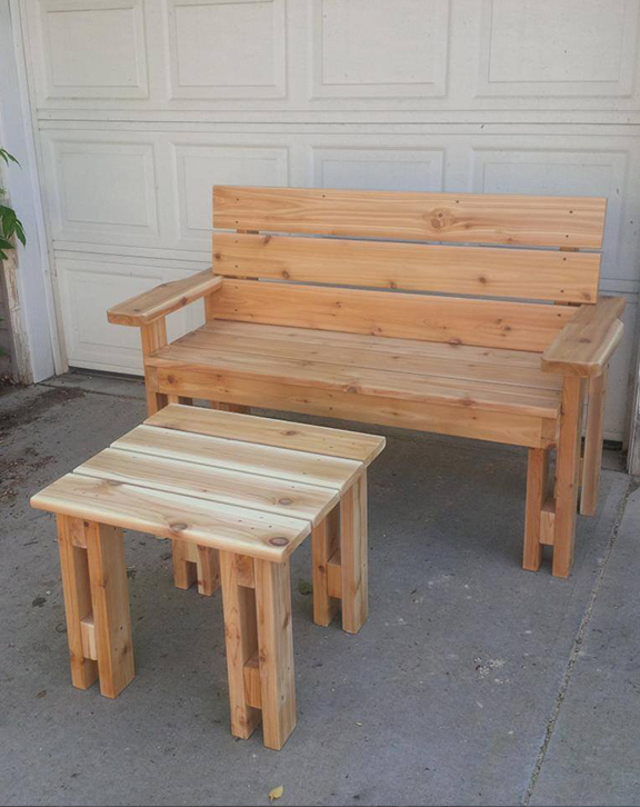 Garden Bench Double & Side Table