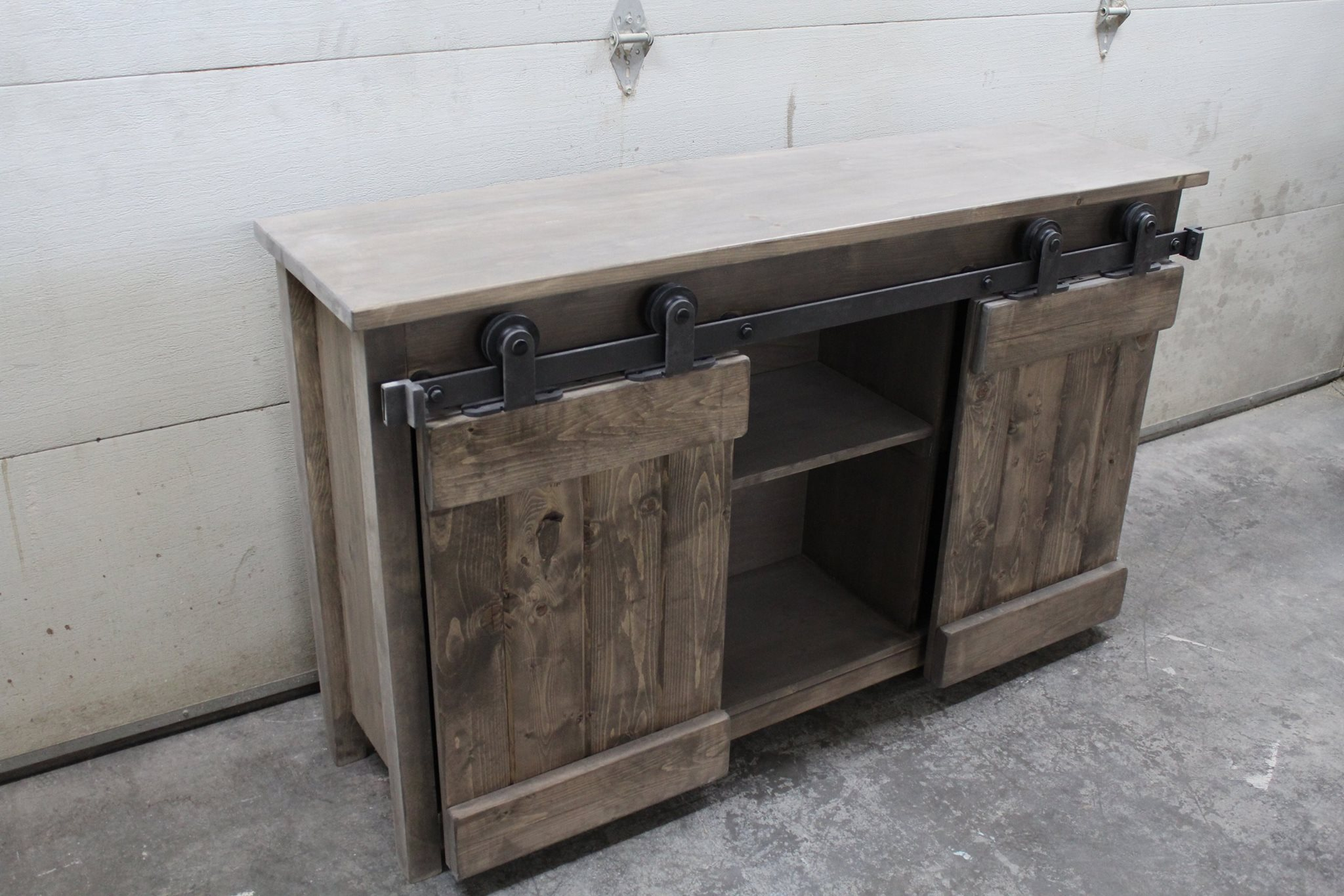 barn door console forest trek woodwork With barn door sofa table